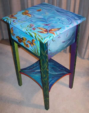 Laura McMillan painted furniture at Station Gallery