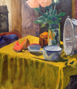 "Ed Bronstein ""Melons, Roses & Pots"" at Station Gallery $1200."