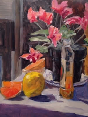 "Ed Bronstein Cyclamen & Citrus Fruit"" at Station Gallery $1200."